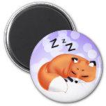 Cute Kawaii Sleeping cartoon fox 2 Inch Round Magnet