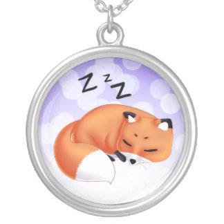 Cute Kawaii Sleeping cartoon fox Round Pendant Necklace
