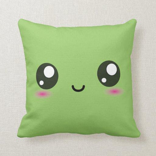 Cute Kawaii Smiley Cushion - Green Pillow