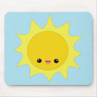 Cute kawaii smiling sun mousepad