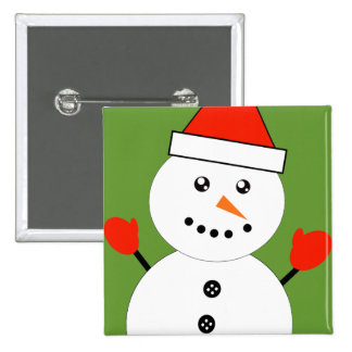Cute Kawaii Snowman 2 Inch Square Button