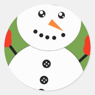 Cute Kawaii Snowman Classic Round Sticker
