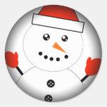 Cute Kawaii Snowman Round Stickers
