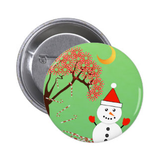 Cute Kawaii Snowman with CandyCane Tree 2 Inch Round Button