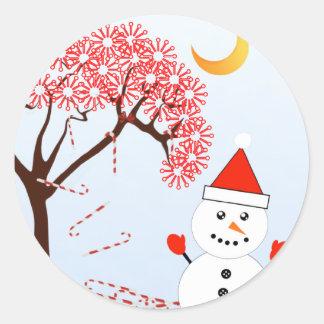 Cute Kawaii Snowman with CandyCane Tree Classic Round Sticker