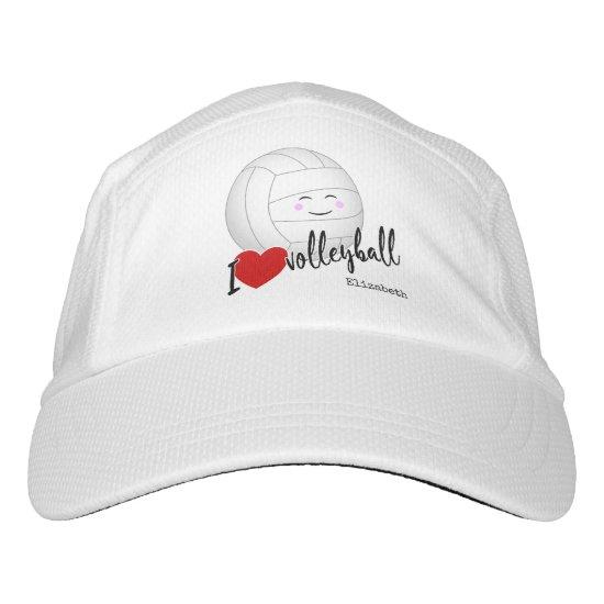 "cute kawaii sports girl's ""I love volleyball"" Hat"