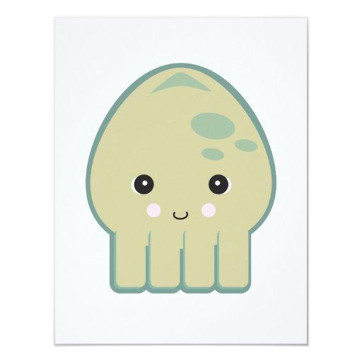 cute kawaii squid 4.25x5.5 paper invitation card