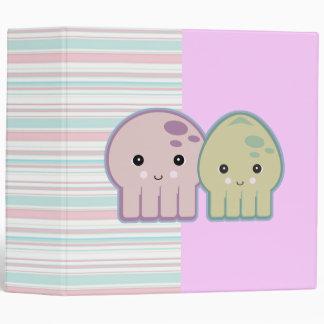 Cute Kawaii Squid and Octopus Striped Notebook Binder