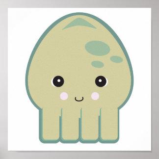 cute kawaii squid poster