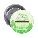 Cute kawaii St Patricks day cupcake Button