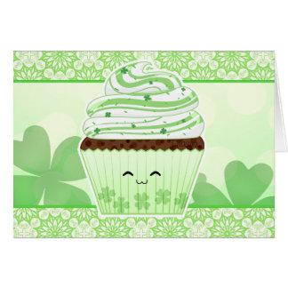 Cute kawaii St Patricks day cupcake Card