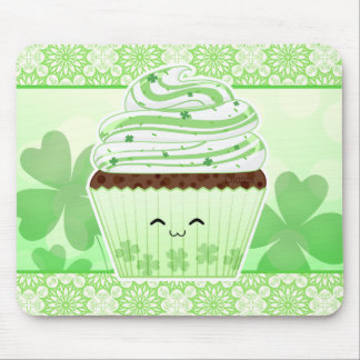 Cute kawaii St Patricks day cupcake Mouse Pad