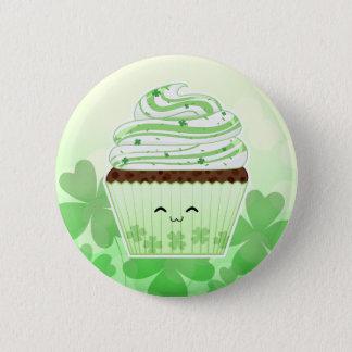 Cute kawaii St Patricks day cupcake Pinback Button