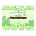 Cute kawaii St Patricks day cupcake Postcards