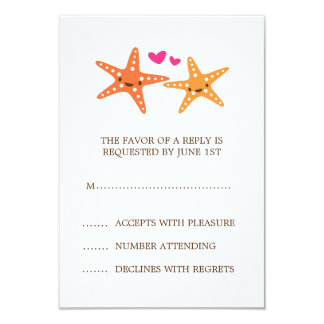 Cute kawaii starfish beach destination reply RSVP Card