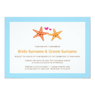 Cute kawaii starfish beach destination sea wedding card