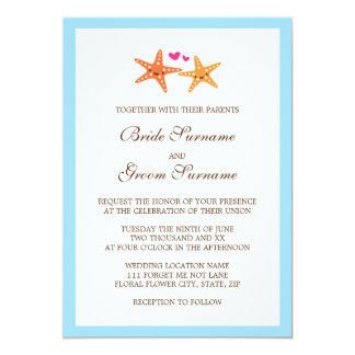 Cute kawaii starfish beach destination wedding card