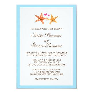 Cute kawaii starfish beach destination wedding card