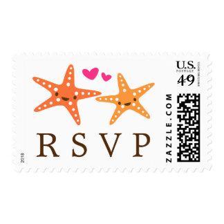 Cute kawaii starfish beach wedding RSVP reply Postage Stamp