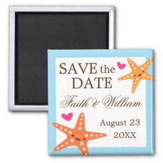 Cute kawaii starfish beach wedding Save the Date 2 Inch Square Magnet