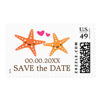 Cute kawaii starfish beach wedding Save the Date Postage