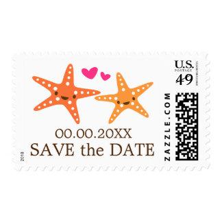 Cute kawaii starfish beach wedding Save the Date Postage