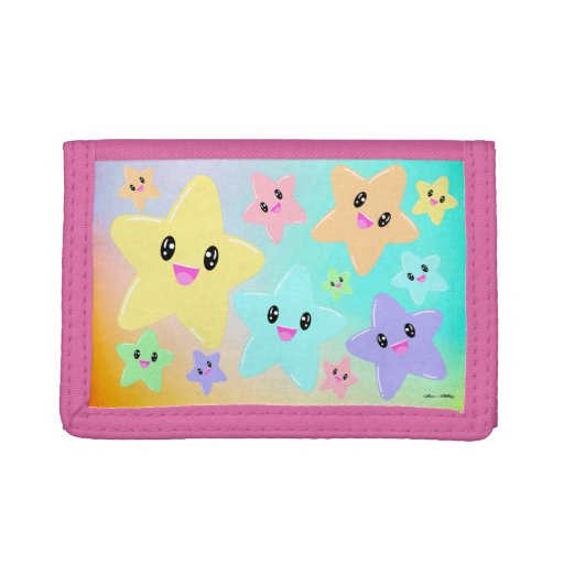 Cute Kawaii Stars Rainbow Ombre Gradient Colorful Trifold Wallet