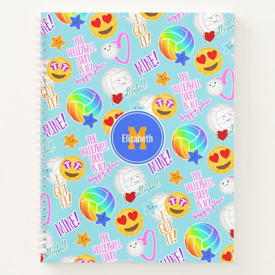 cute kawaii stickers pattern I love volleyball Notebook