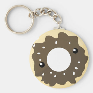 Cute Kawaii Style Chocolate Frosted Donut Basic Round Button Keychain