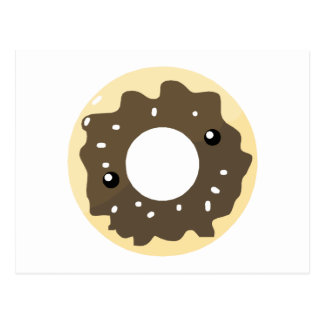 Cute Kawaii Style Chocolate Frosted Donut Postcard