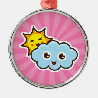 Cute kawaii sun and cloud characters ornament