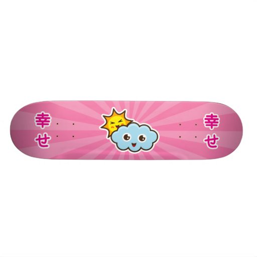 Cute kawaii sun and cloud characters skateboard | Zazzle