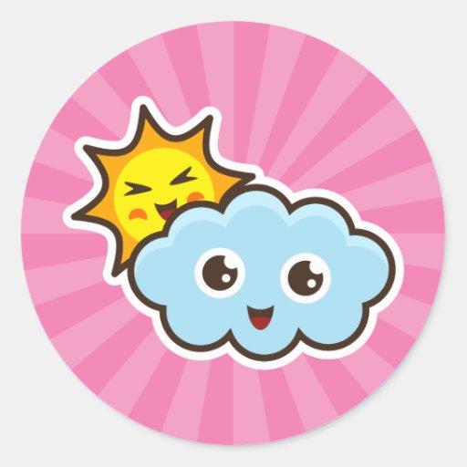 Cute kawaii sun and cloud friends stickers | Zazzle