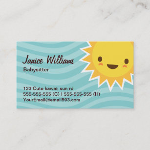 Cartoon character business cards templates zazzle cute kawaii sun cartoon character aqua babysitter business card colourmoves