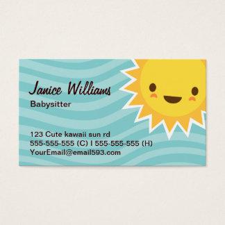 Cute kawaii sun cartoon character aqua babysitter business card