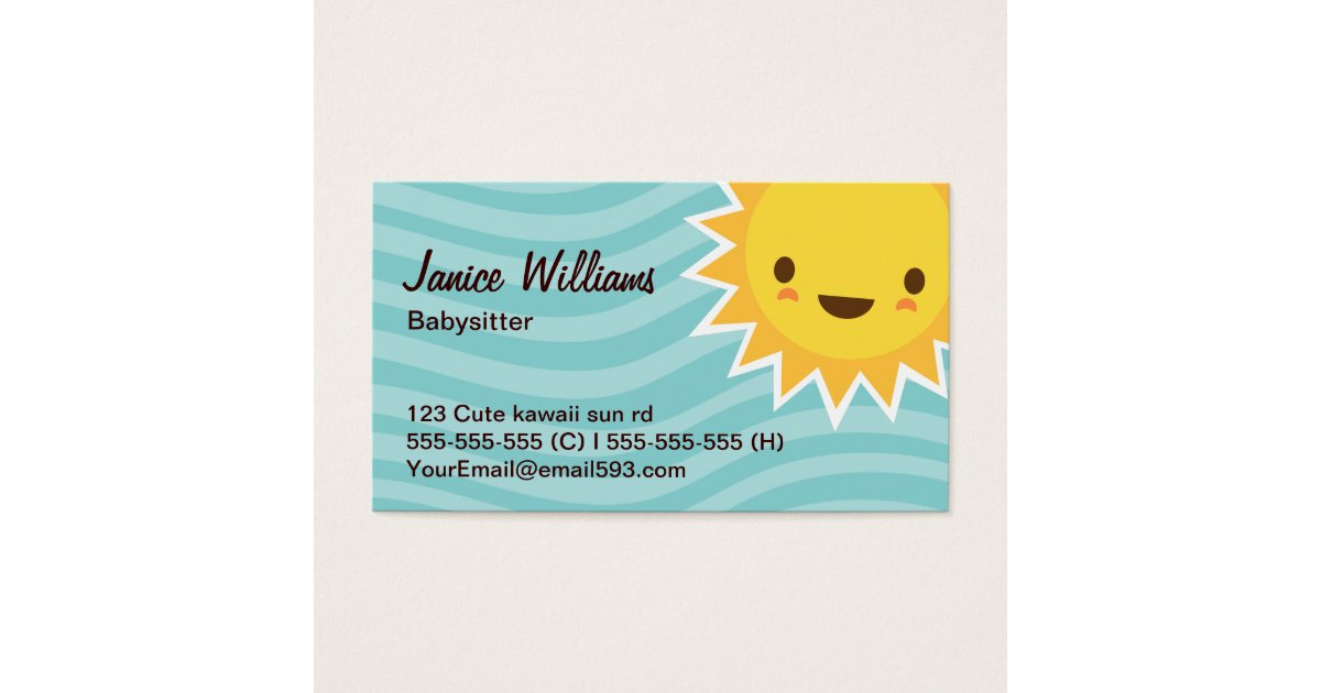 Cute kawaii sun cartoon character aqua babysitter business card ...
