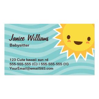 Cute kawaii sun cartoon character aqua babysitter Double-Sided standard business cards (Pack of 100)