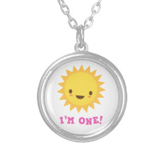 Cute kawaii sun cartoon character I am one Necklaces