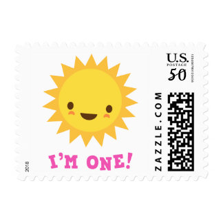 Cute kawaii sun cartoon character I am one Postage
