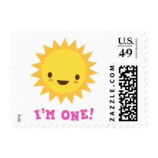 Cute kawaii sun cartoon character I am one Stamp