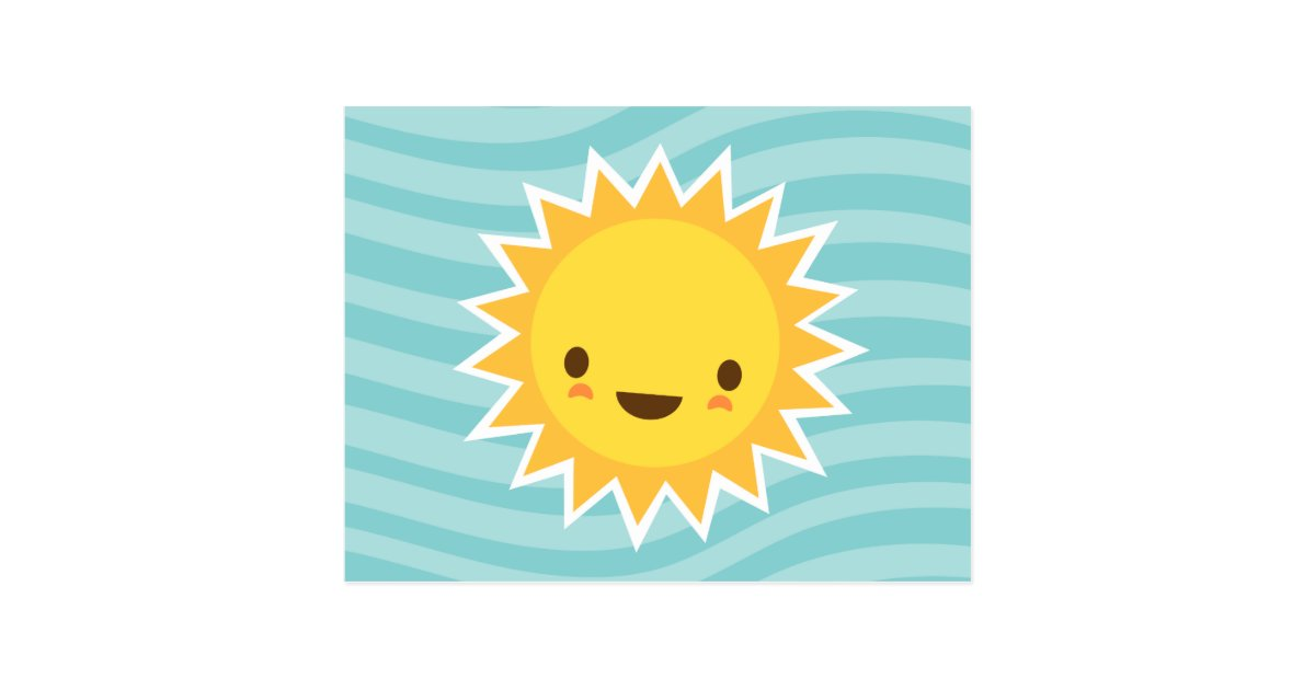 Cute Kawaii Sun Cartoon Character On Blue Postcard