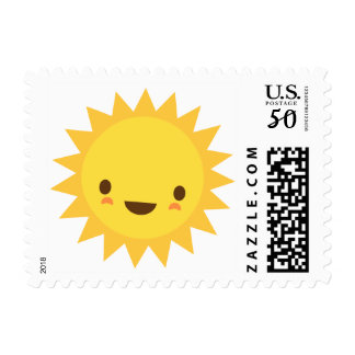 Cute kawaii sun cartoon character postage