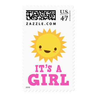 Cute kawaii sun character its a girl new baby postage
