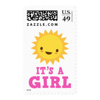 Cute kawaii sun character its a girl new baby postage stamp