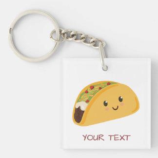 Cute Kawaii Taco Personalized Taco-bout Awesome Keychain