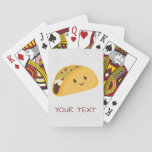"""Cute Kawaii Taco Smiling Playing Cards<br><div class=""""desc"""">Personalize these cards for a fun gift for anyone who loves tacos.</div>"""