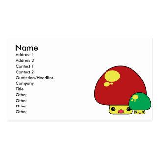 cute kawaii toadstool mushrooms red green business cards