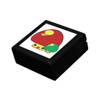 cute kawaii toadstool mushrooms red green keepsake box