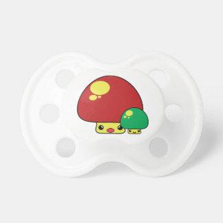 cute kawaii toadstool mushrooms red green baby pacifiers