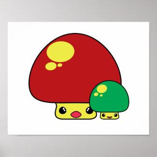 cute kawaii toadstool mushrooms red green print